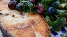 Halibut Steaks with Sour Cherry and Arugala Salad