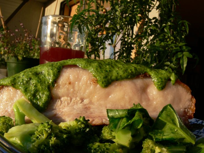 Pork Belly with Green Sauce and Kombucha